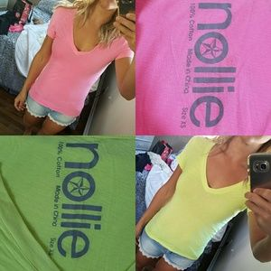 2 Neon Nollie V-neck Tees